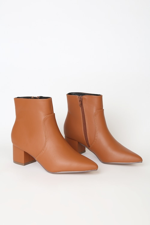 Sofia Tan Pointed Toe Ankle Booties
