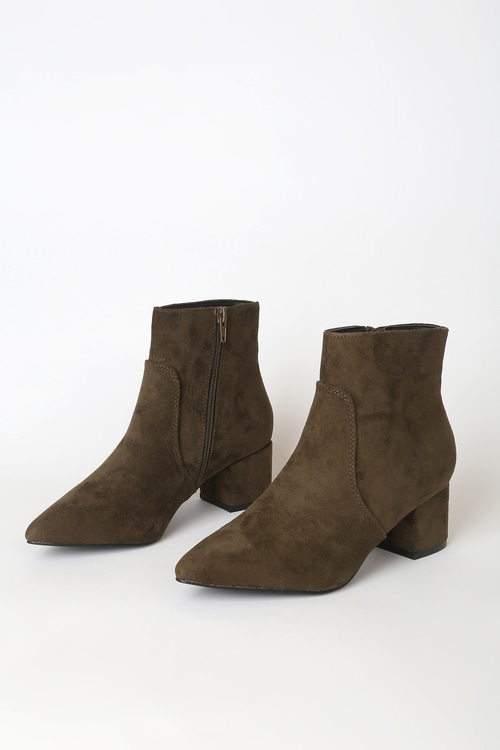 Sofia Olive Green Suede Pointed Toe Ankle Booties