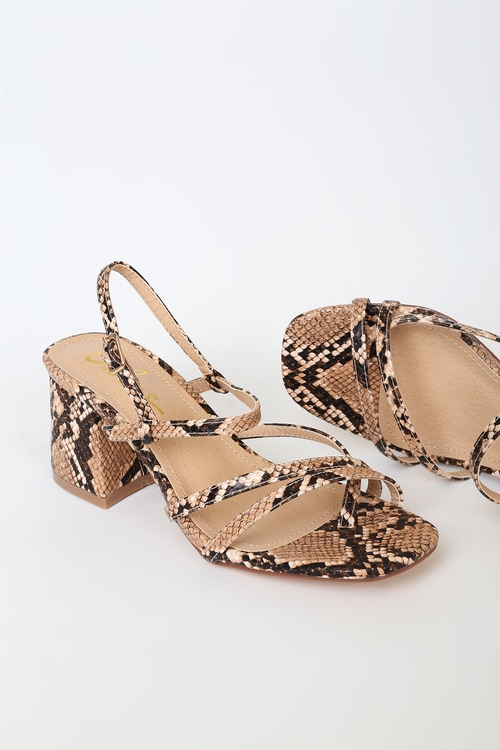 Fanny Tan Snake-Embossed Strappy High Heel Sandals