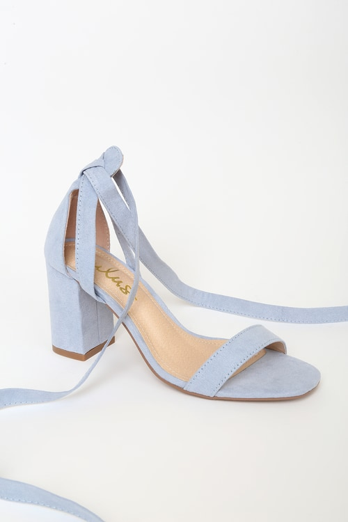 Airis Blue Suede Lace-Up Heels