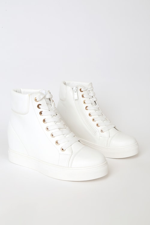 Curren White High Top Wedge Sneakers