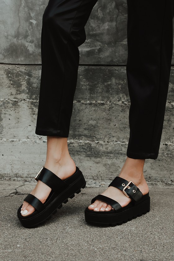 black platform buckle sandals