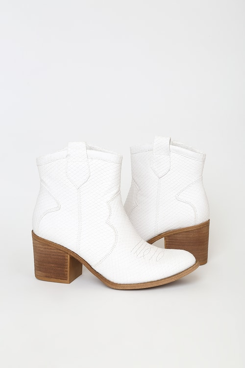 Dirty Laundry Unite White Snake Ankle Booties