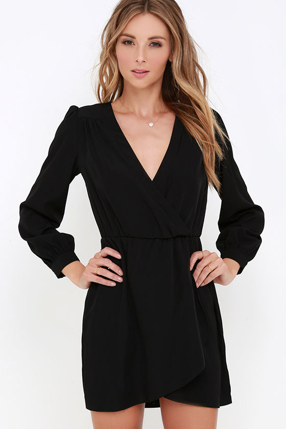 Cute Black Dress - Wrap Dress - Long Sleeve Dress - $49.00