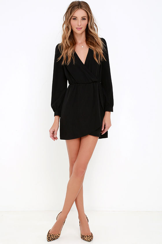 That's a Wrap Black Long Sleeve Dress at Lulus.com!