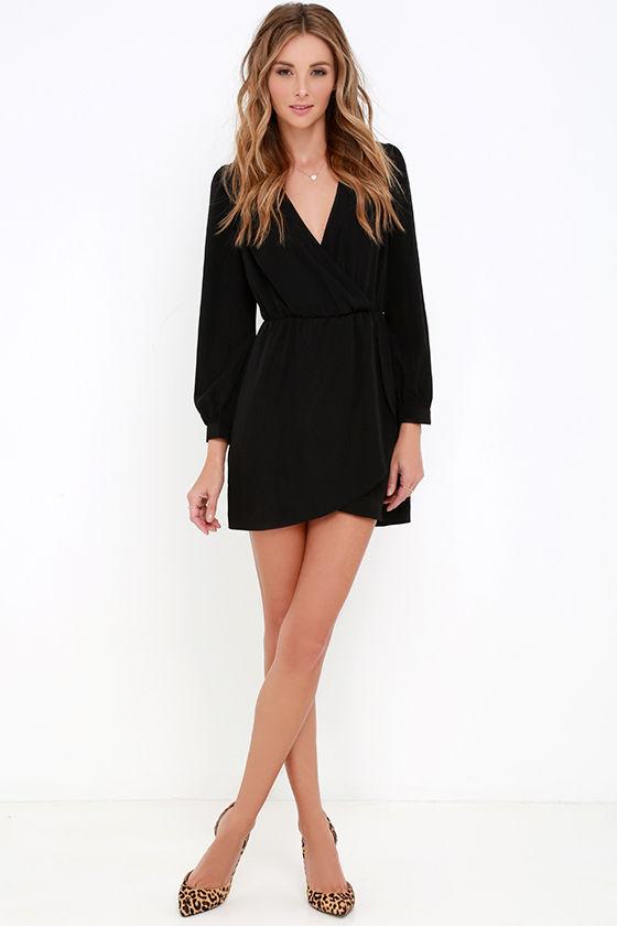 Cute Black Dress - Wrap Dress - Long Sleeve Dress - $49.00