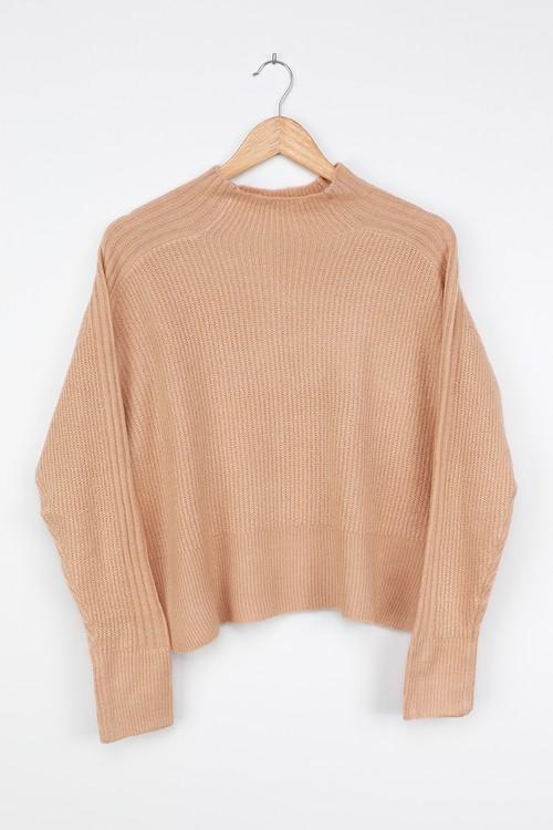 LUSH Call it Casual Tan Mock Neck Sweater