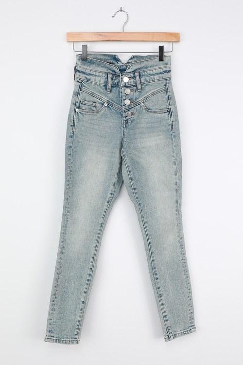Blank NYC Rivington Light Wash Denim High Rise Skinny Jeans