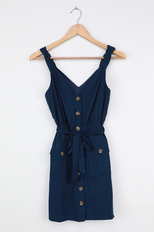 Meant for Greatness Navy Blue Button-Front Mini Dress