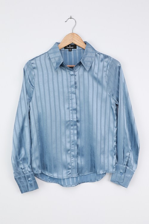 Real Deal Dusty Blue Striped Satin Button-Up Shirt