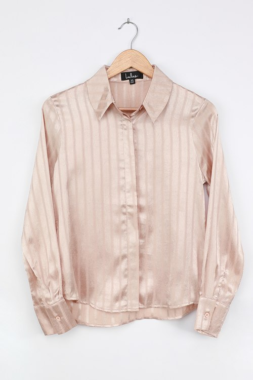Real Deal Champagne Striped Satin Button-Up Shirt