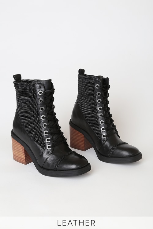 Kelsi Dagger Weaver Black Leather Lace-Up Ankle Boots