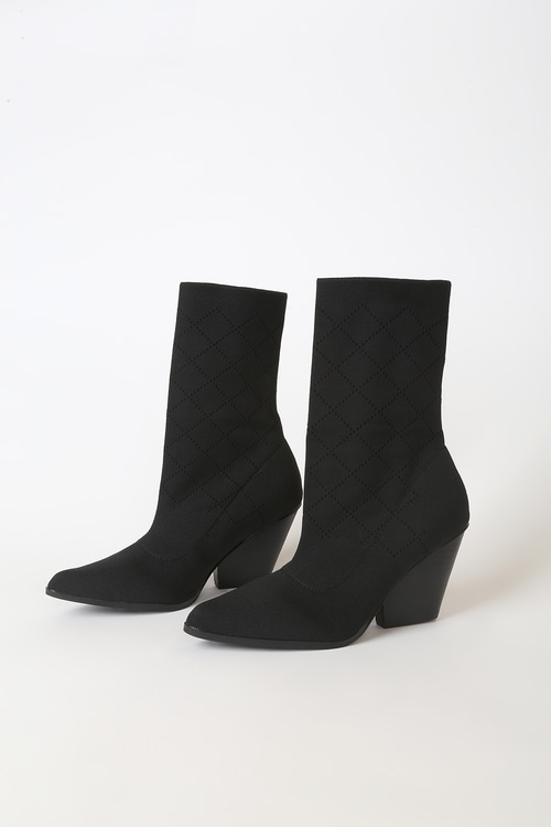 Gracey Black Pointed-Toe Mid-Calf Sock Boots