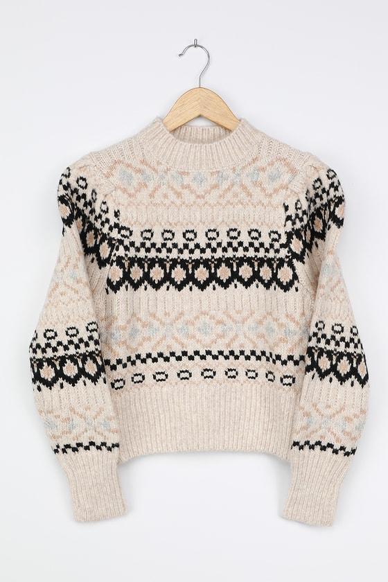 1930s Style Sweaters | Vintage Sweaters Maria Beige Multi Fair Isle Knit Sweater  Lulus $98.00 AT vintagedancer.com