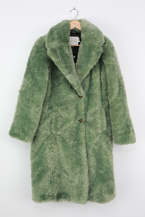 Stepping Out in Style Green Faux Fur Long Coat