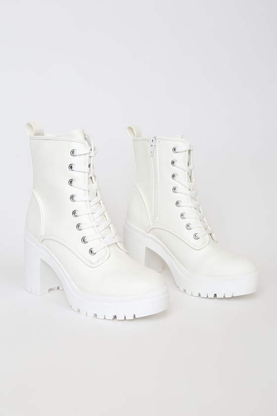 White Lace-Up Boots - Chunky Platform