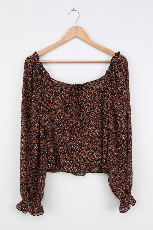 Autumn Blooms Black Floral Print Ruffled Long Sleeve Top