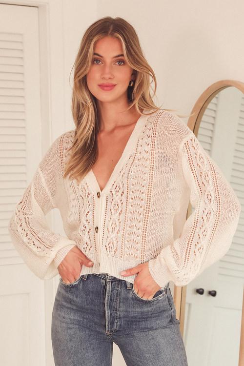 Harvest Season Ivory Pointelle Knit Cardigan Sweater
