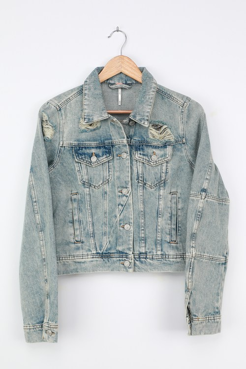 Free People Rumors Light Wash Distressed Denim Jacket