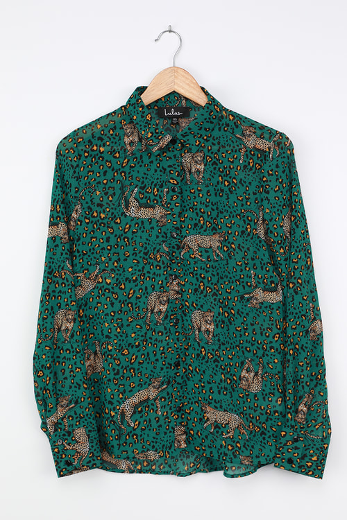 One Cool Cat Emerald Green Leopard Print Button-Up Top
