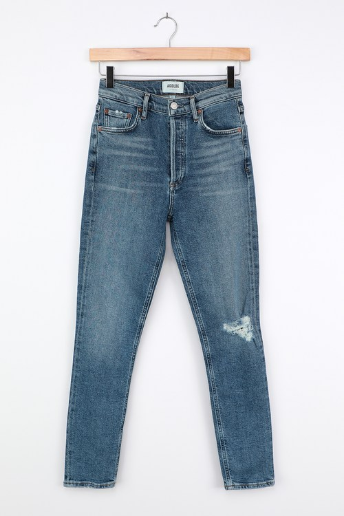 AGoldE Nico High Rise Medium Wash Distressed Slim Leg Jeans