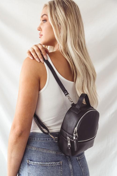 Steve Madden Jacki Black Convertible Mini Backpack