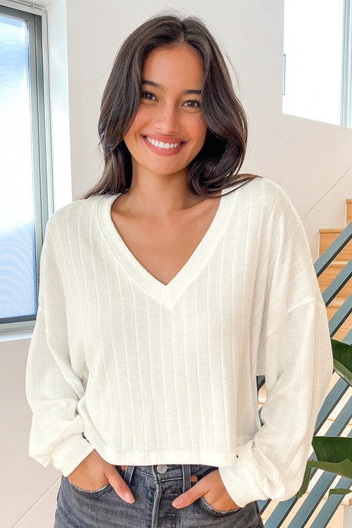 Expect the Best White Ribbed Balloon Sleeve Sweater Top