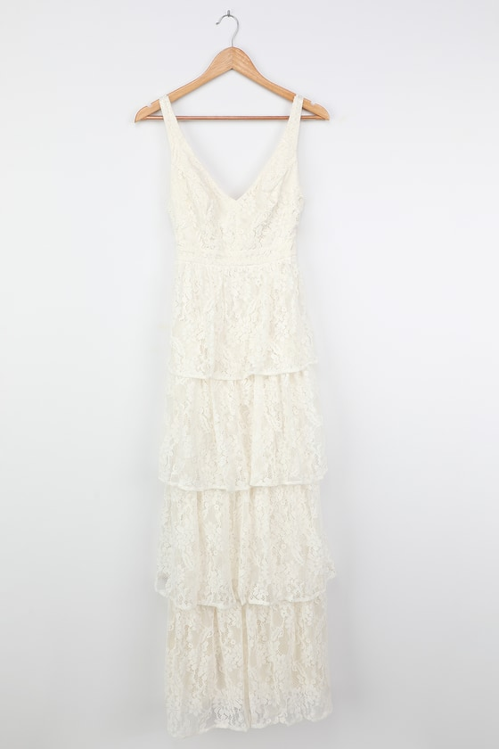 White Flapper Dresses, White 1920s Dresses Now That Ive Found You White Lace Tiered Maxi Dress  Lulus $85.00 AT vintagedancer.com