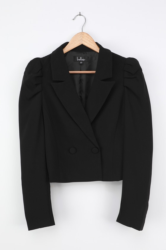 Vintage Coats & Jackets | Retro Coats and Jackets Executive Chic Black Puff Sleeve Double Breasted Cropped Blazer  Lulus $54.00 AT vintagedancer.com