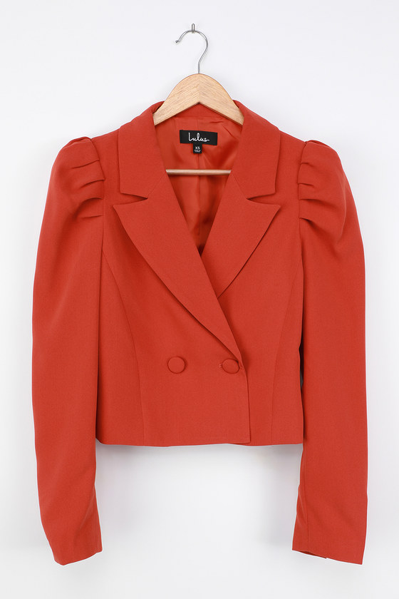 1940s Style Coats and Jackets for Sale Executive Chic Orange Puff Sleeve Double Breasted Cropped Blazer  Lulus $54.00 AT vintagedancer.com