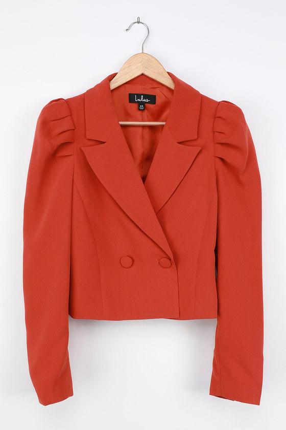 Vintage Coats & Jackets | Retro Coats and Jackets Executive Chic Orange Puff Sleeve Double Breasted Cropped Blazer  Lulus $54.00 AT vintagedancer.com