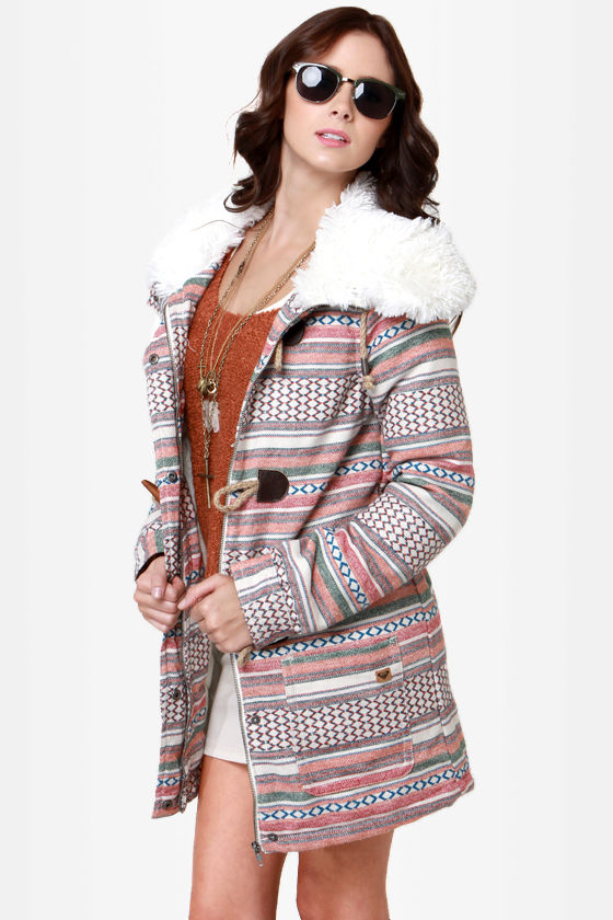 Roxy Chestnut Way Print Coat at Lulus.com!