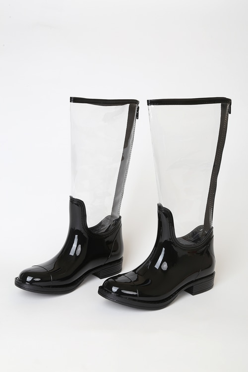Jalyne Clear and Black Knee-High Rain Boots
