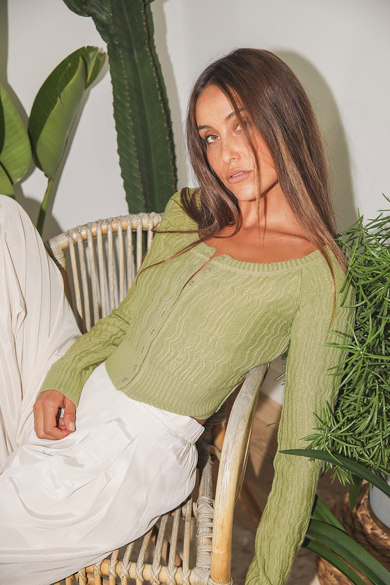Mimi Light Green Ribbed Button Up Cropped Cardigan Sweater