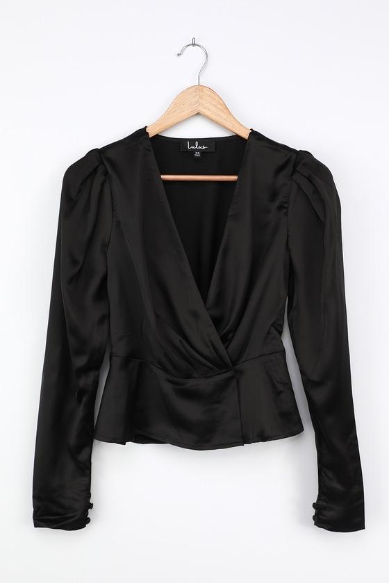 Swing Dance Dresses   Lindy Hop Dresses & Clothing Career Move Black Satin Surplice Puff Sleeve Top  Lulus $48.00 AT vintagedancer.com