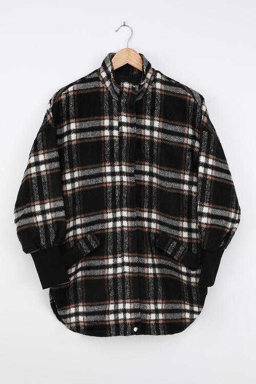 BB Dakota Plaid Times Black Multi Plaid Coat