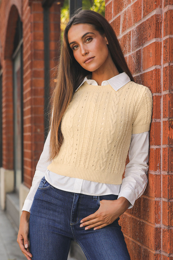 Short + Sweet Cream Cable Knit Cropped Sweater Top
