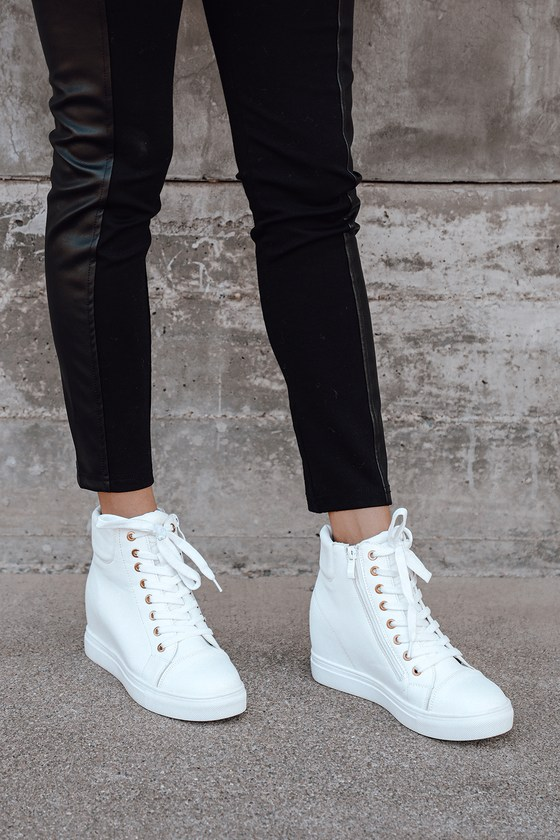 White Wedge Sneakers - High Top