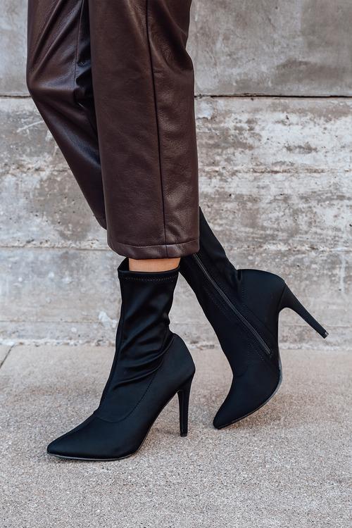 Kamari Black Pointed-Toe Mid-Calf Sock Boots