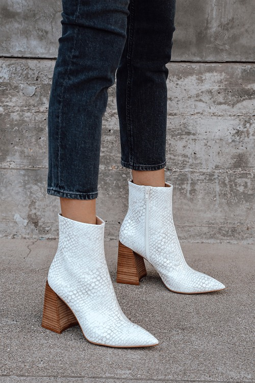 Steve Madden Envied White and Grey Snake Pointed-Toe Mid-Calf Boots