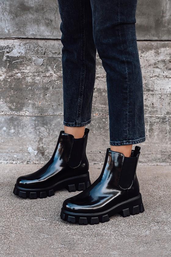 black chelsea boots platform