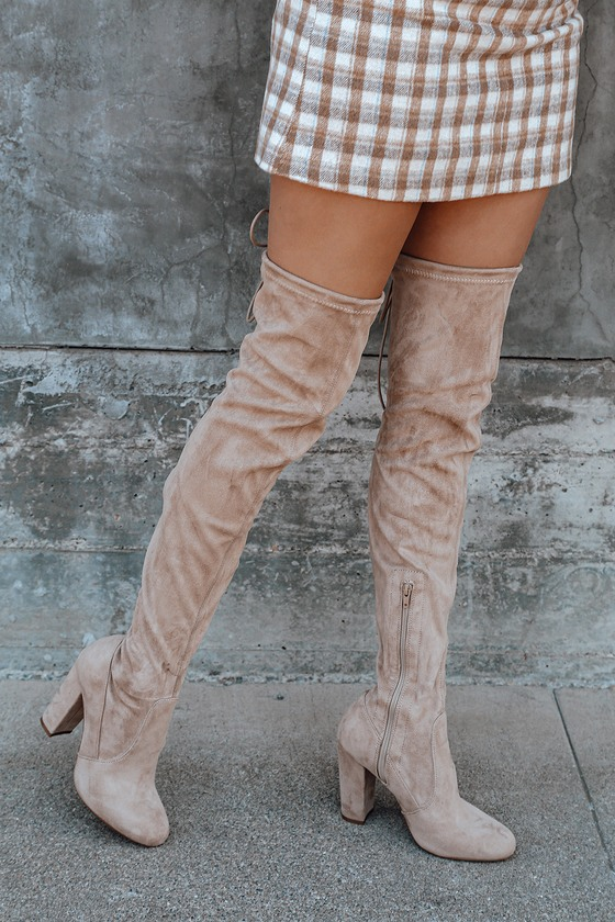 Chic Nude Suede Boots - Beige Over the