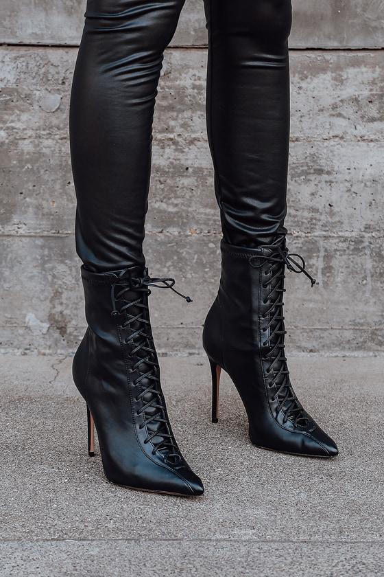 Schutz Tennie - Black Pointed-Toe Boots