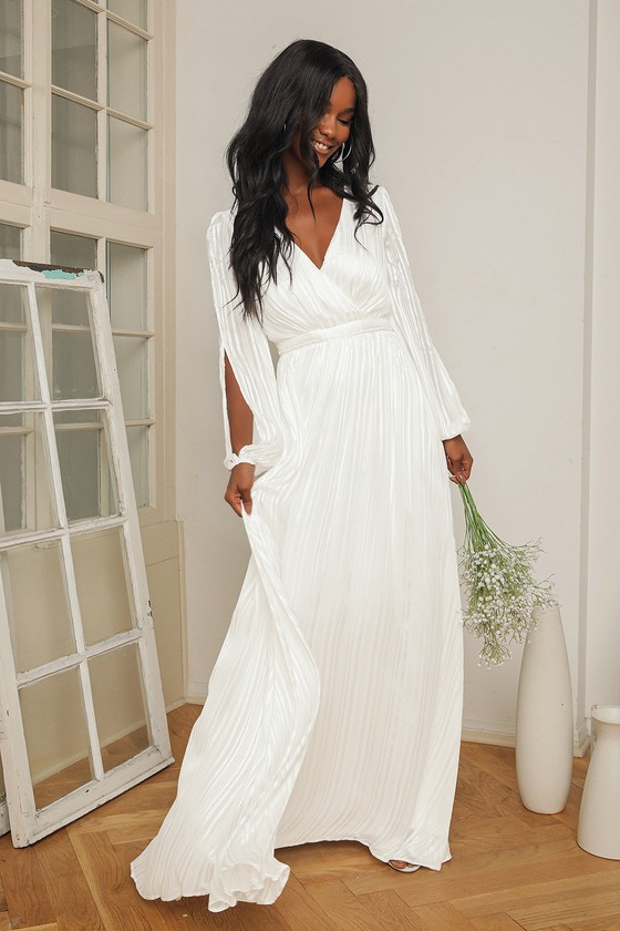 white romantic boho maxi wrap dress engagement photo dress elopement dress