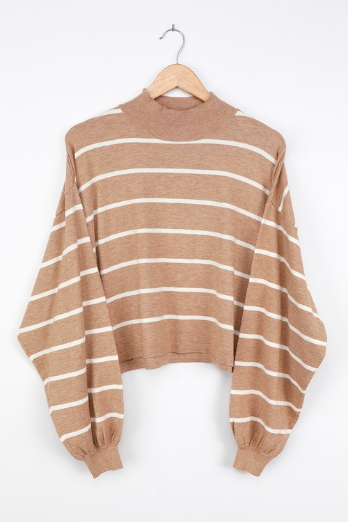 Cruising for Cozy Tan Striped Knit Balloon Sleeve Sweater