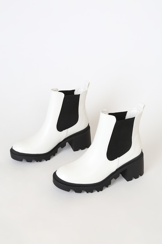 White Ankle Boots - Chunky Platform