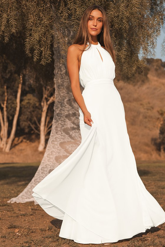 white maxi halter dress for engagement photos engagement session micro wedding dress