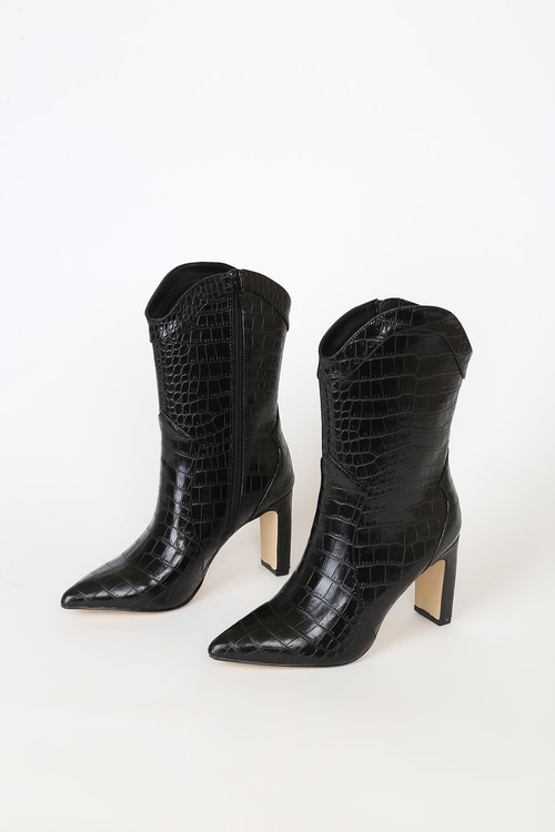 Chinese Laundry Everley Black Crocodile Pointed-Toe Mid-Calf Boots