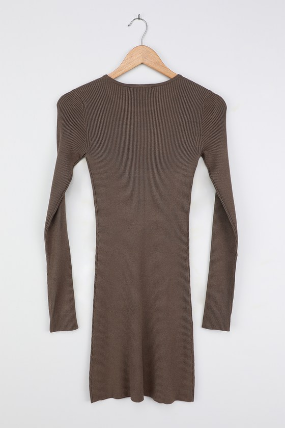 Casual Comfort Olive Green Ribbed Bodycon Sweater Dress