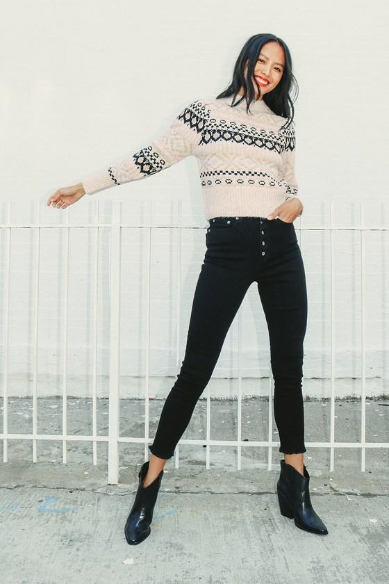 1940s Teenage Fashion: Girls Maria Beige Multi Fair Isle Knit Sweater  Lulus $98.00 AT vintagedancer.com